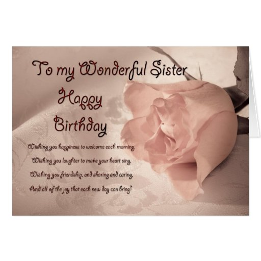 Elegant rose birthday card for sister