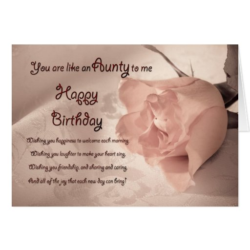 Elegant rose birthday card - like an aunty