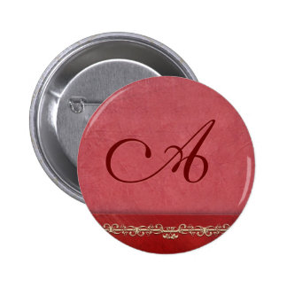 Elegant rose colored monogram - customize your own pinback buttons