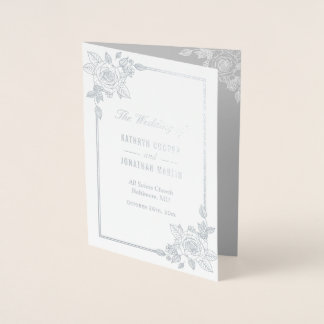 Elegant Rose Frame Silver Foil Wedding Program Foil Card