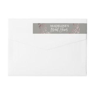 Elegant Rose Gold and Gray Bridal Shower Wrap Around Label