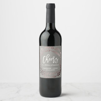 "Elegant Rose Gold and Gray ""Cheers"" Wedding Wine Label"