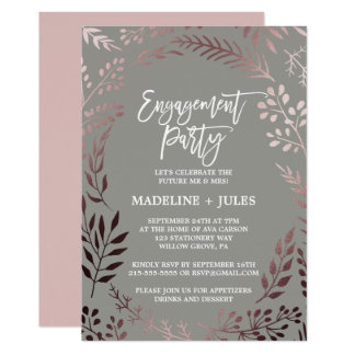 Elegant Rose Gold and Gray Engagement Party Card