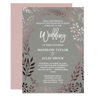Elegant Rose Gold and Gray | Formal Wedding Card