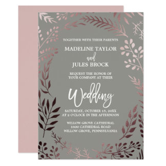 Elegant Rose Gold and Gray | Leafy Frame Wedding Card