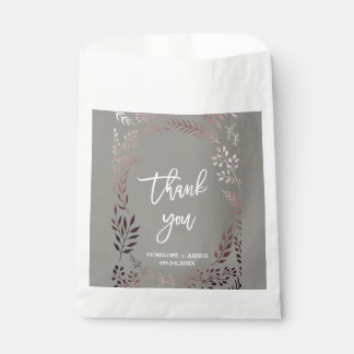 Elegant Rose Gold and Gray | Leafy Frame Wedding Favour Bag