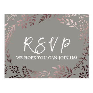 Elegant Rose Gold and Gray Menu Choice RSVP Postcard