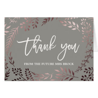 Elegant Rose Gold and Gray Thank You Card