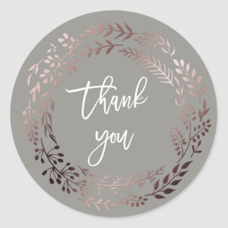 Elegant Rose Gold and Gray Thank You Wedding Favor Classic Round Sticker
