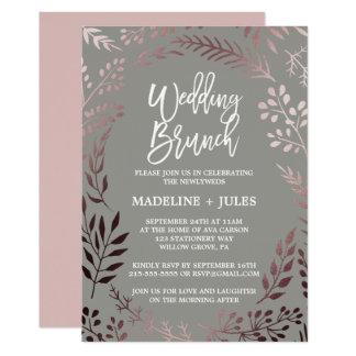 Elegant Rose Gold and Gray Wedding Brunch Card