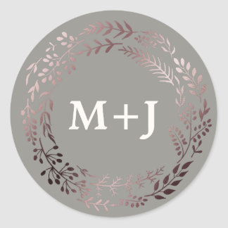 Elegant Rose Gold and Gray Wedding Envelope Seals