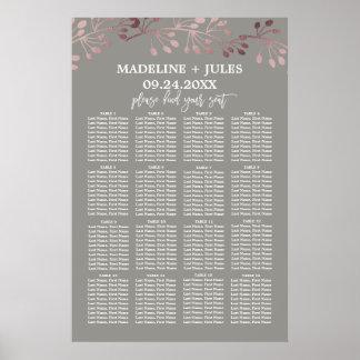 Elegant Rose Gold and Gray Wedding Seating Chart