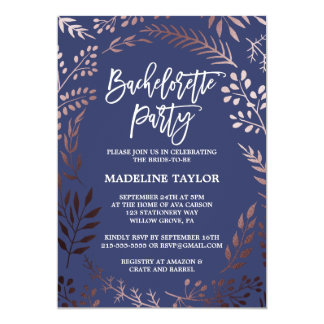 Elegant Rose Gold and Navy Bachelorette Party Card