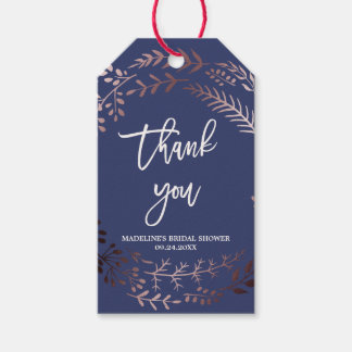 Elegant Rose Gold and Navy Bridal Shower Thank You Gift Tags