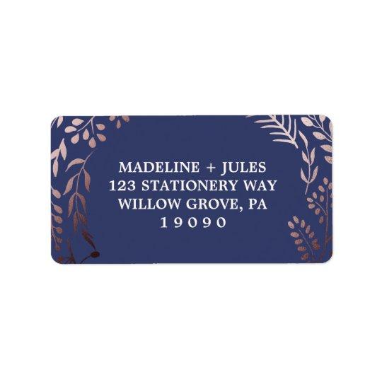 Elegant Rose Gold and Navy   Leafy Frame Wedding Address Label