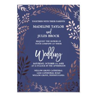 Elegant Rose Gold and Navy | Leafy Frame Wedding Card