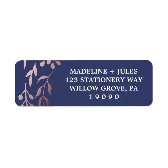 Elegant Rose Gold and Navy | Leafy Frame Wedding Return Address Label