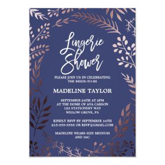 Elegant Rose Gold and Navy Lingerie Shower Card
