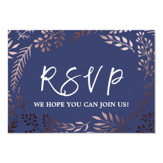 Elegant Rose Gold and Navy Menu Choice RSVP Card