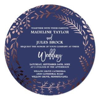Elegant Rose Gold and Navy Round Wedding Card