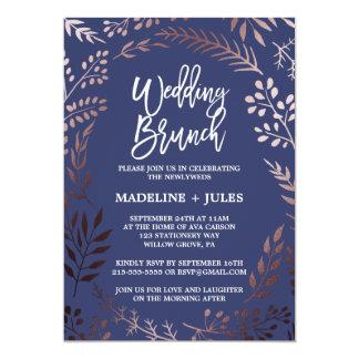 Elegant Rose Gold and Navy Wedding Brunch Card
