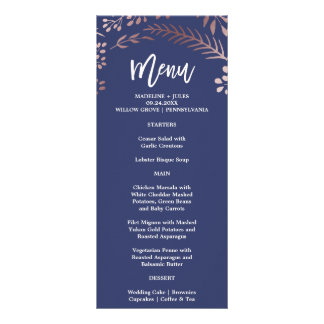 Elegant Rose Gold and Navy Wedding Menu Card
