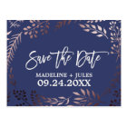 Elegant Rose Gold and Navy Wedding Save the Date Postcard