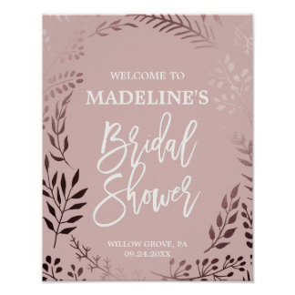 Elegant Rose Gold and Pink Bridal Shower Welcome Poster