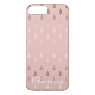 Elegant rose gold and pink Christmas tree pattern iPhone 8 Plus/7 Plus Case