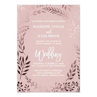 Elegant Rose Gold and Pink | Leafy Frame Wedding Card