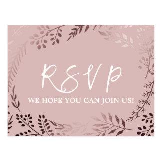 Elegant Rose Gold and Pink Song Request RSVP Postcard