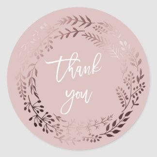 Elegant Rose Gold and Pink Thank You Wedding Favor Classic Round Sticker