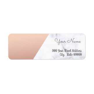 Elegant rose gold and white marble baby shower return address label