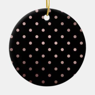 elegant rose gold black polka dots round ceramic decoration