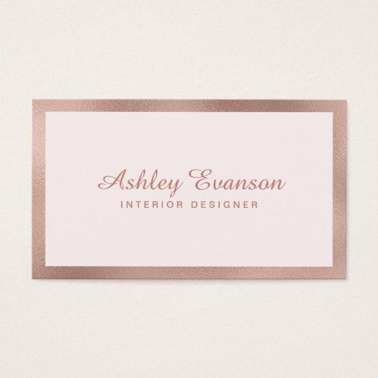 Elegant Rose Gold Border on Blush Pink Business Card