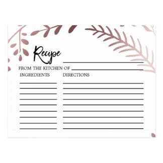 Elegant Rose Gold Bridal Shower Recipe Cards