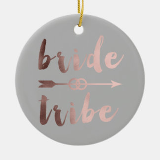 elegant rose gold bride tribe arrow wedding rings ceramic ornament