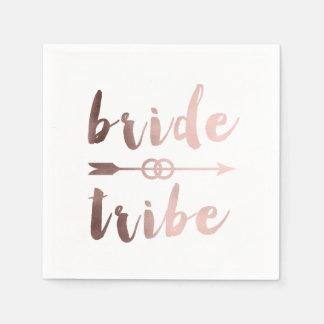 elegant rose gold bride tribe arrow wedding rings paper napkins