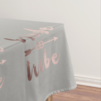 elegant rose gold bride tribe arrow wedding rings tablecloth