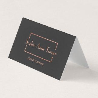 Elegant Rose Gold Broken Frame Dark Grey Business Card