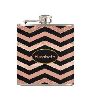 Elegant Rose Gold Chevron with DIY Name Flasks