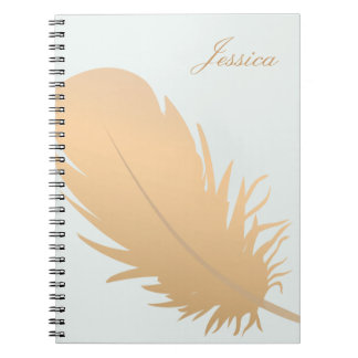 Elegant Rose Gold Feather Art Personalized Spiral Notebook