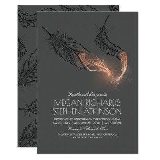 Elegant Rose Gold Feathers Vintage Wedding Card