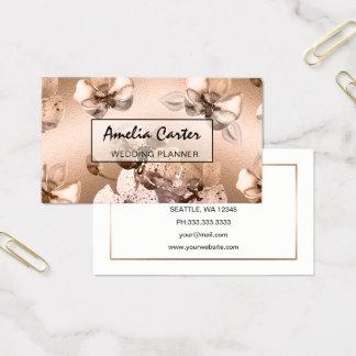 Elegant Rose Gold Floral business cards