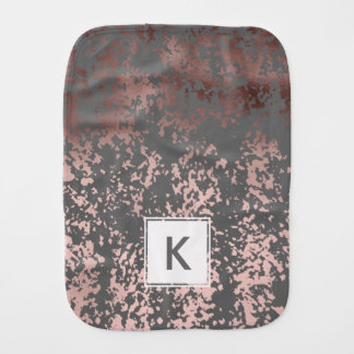 elegant rose gold foil and grey brushstrokes baby burp cloths