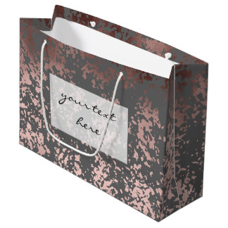 elegant rose gold foil and grey brushstrokes large gift bag