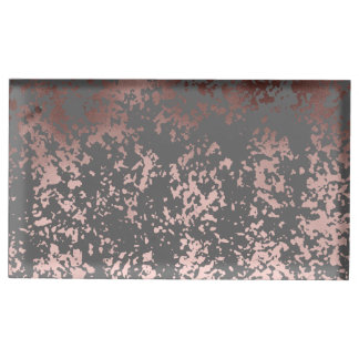 elegant rose gold foil and grey brushstrokes table card holder