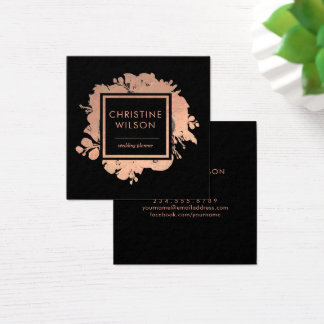 elegant rose gold foil floral decor on black square business card