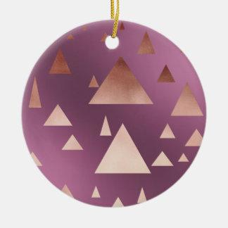 elegant rose gold foil geometric triangles round ceramic decoration