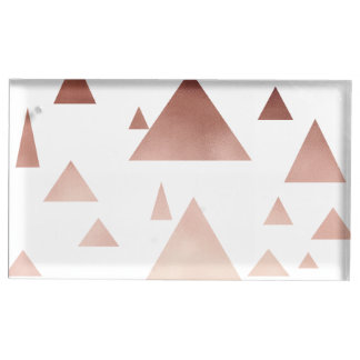 elegant rose gold foil geometric triangles table card holders